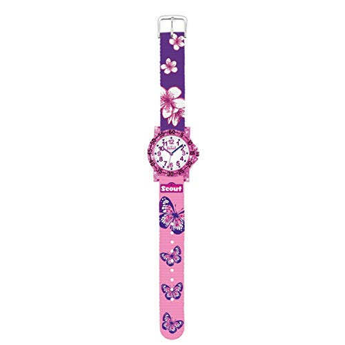 SCOUT Mädchen Analog Quarz Uhr mit Stoff Armband 280375013