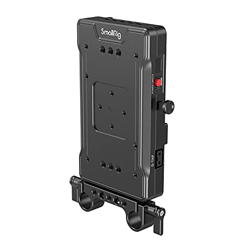 SMALLRIG V-Mount Akku Adapterplatte für BMPCC 4K & 6K & 6K Pro, spiegellose DSLR-Kameras, kommt mit 8V/12V/14,2V D-Tap/5V 2A USB-Ausgangsports und 15 mm Stangenklemme - 3203