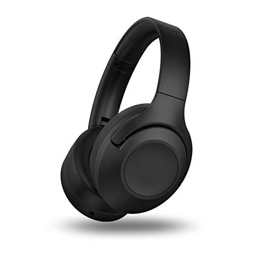 ANC auriculares Bluetooth con reducción de ruido activo, graves profundos de alta fidelidad, orejeras suaves plegables, micrófono incorporado para el hogar, la oficina en línea, teléfono móvil