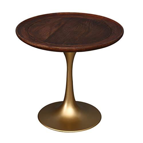 Bijzettafel JCOCO Natuurlijke Massief hout Koffie/Thee, Pure metalen Sofa Tafel voor Kleine Ruimte, Hoekbank, Hotels Woonkamer Ronde Nachtkastje