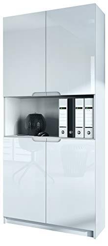 Vladon Büroschrank Aktenschrank Büromöbel Logan V2, Korpus in Weiß matt/Fronten in Weiß Hochglanz