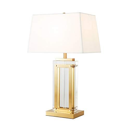 Lámpara de mesa de noche de cristal Lámpara de estilo simple con pantalla de tela para dormitorio Lámpara de mesa creativa de cabecera