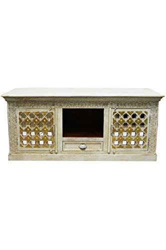 Lasmina Oosterse tv-meubel, 163 cm, Marokkaanse vintage tv-tafel smal, Oosterse kasten van massief hout, voor de hal, slaapkamer, woonkamer of badkamer