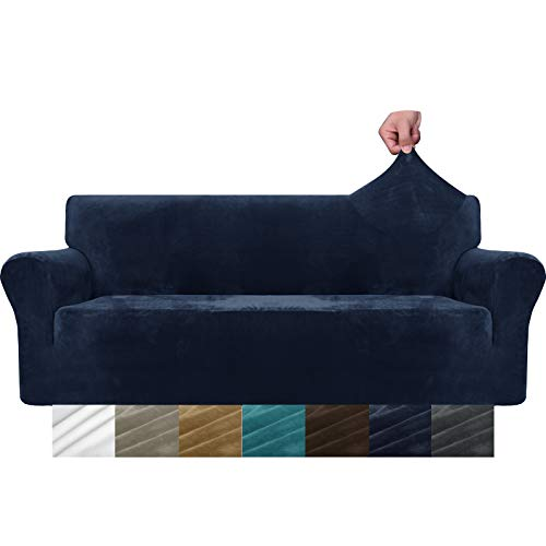 MAXIJIN Thick Velvet Sofa Covers 3 Seater Super Stretch Non Slip Couch Cover for Dogs Cat Pet Friendly 1-Piece Elastic Furniture Protector Plush Sofa Slipcovers (3 Seater, Navy Blue)