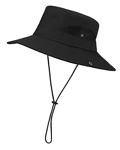 LIVACASA Sonnenhut Herren Sommer Hut UV Schutz Schirmmütze Sommer Fischerhut Atmungsaktiv Faltbar Safari Hut Unisex für Outdoor Wandern Angel Schwarz