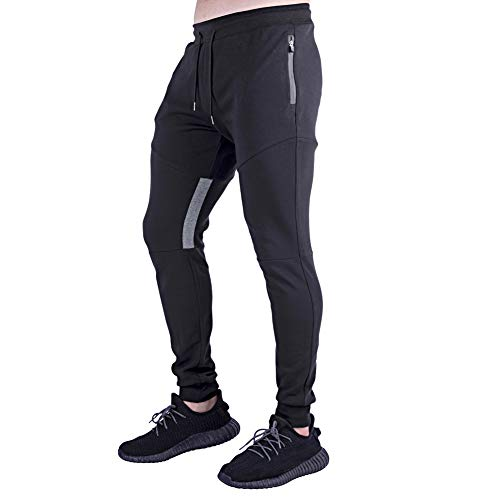 A WATERWANG Men's Joggers Athletic Pants Running Workout Tapered Sweatpants with Zipper Pockets(Black,XXL)