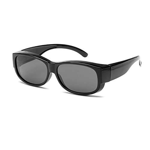SIPHEW Sonnenbrillen für Brillenträger Antireflexbeschichtung 100% UVA/UVB schutz-Überzieh Sonnenbrillen Herren und Damen (Schwarz)