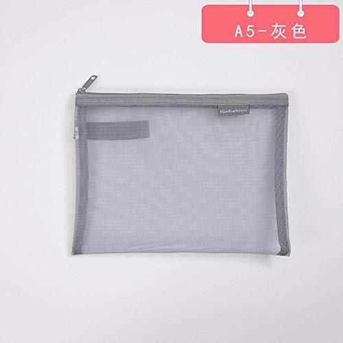 Einfarbige Dokumententasche A4 A5 Transparent Gridding Zip Aufbewahrungsbeutel Stiftablageprodukte Taschenordner Büro- und Schulbedarf, A5-grau