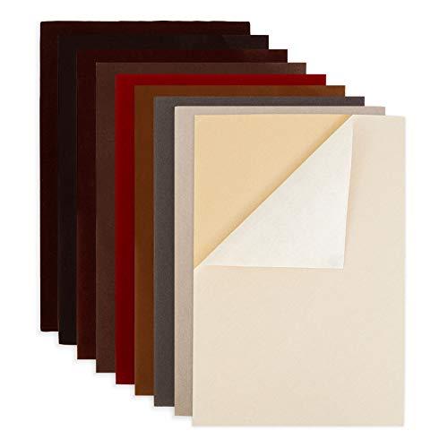BENECREAT 18PCS Hoja de Terciopelo Tela Adherente Pegajosa 9 Colores Hojas Posteriores Hojas Adhesivas Traseras, Hoja A4 (20cmx29.5cm), Autoadhesiva, Duradera y Resistente al Agua, Multiusos