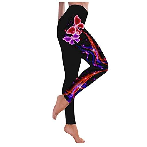 QTJY Leggings para Mujer Pantalones Deportivos de Yoga con Estampado de Mariposas Pantalones de Yoga Deportivos Ajustados con Cintura Alta y Levantamiento de Cadera D XL