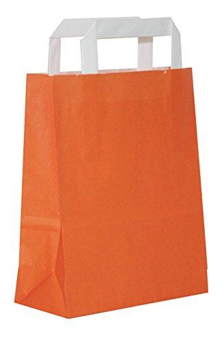 Dila GmbH 50 Papiertragetaschen Papiertaschen Henkeltaschen Tragetaschen Tüten Papiertüten | Orange | recycelbar (22 x 11 x 28 cm)