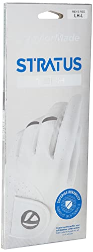 TaylorMade Men's Stratus Tech Golf Glove, White, Medium