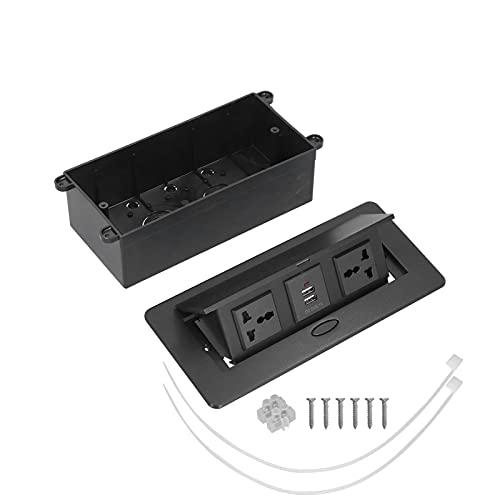 Agatige Enchufe emergente de Mesa, tomacorriente Oculto Caja de conexión de concentrador de Tira de alimentación USB Doble para encimera de Sala de conferencias 250V J29