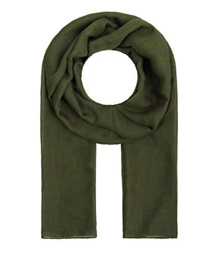 Majea Tuch Lima schmal geschnittenes Damen-Halstuch leicht uni einfarbig dünn unifarben Schal weich Sommerschal Übergangsschal (dark olive)
