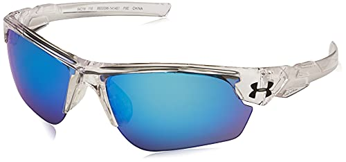 Under Armour Kids' Windup Sunglasses Wrap, Crystal Clear/Gray with Blue Mirror, Youth