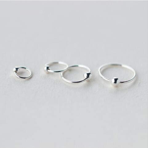 XKMY Pendientes de regalo para mujer, piercing minimalista de oreja, tragus, hélice, cartílago, 925, color plateado, aretes de aro de bola pequeña, 6 mm, 8 mm, 10 mm, 12 mm (color metal: 10 mm)