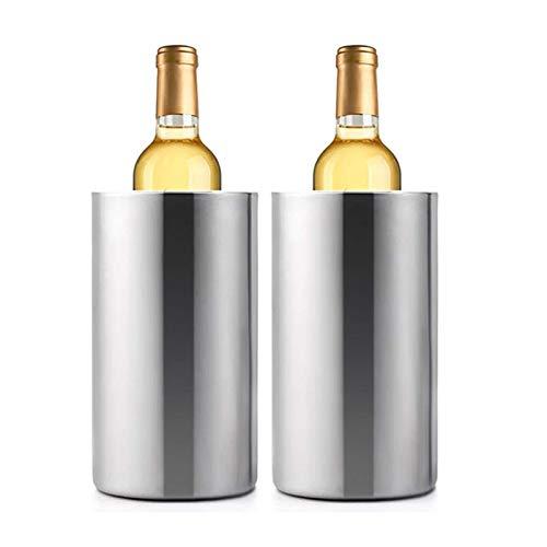 RWEAONT 2 Paquete de Acero Inoxidable de Doble Pared del refrigerador de Vino Cubo, Mantiene fría for Botella Horas Enfriador de Vino Chiller con Abrazadera (Color : Red)