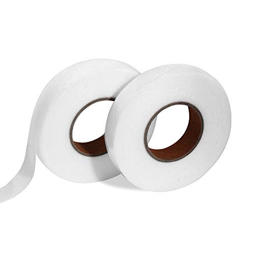 Lidiper 2 Rollos x 70 Yardas Cinta Termoadhesiva para Dobladillos, Cinta de Dobladillo Cinta de Fusión de Tela Cinta Adhesiva para Cortinas Pantalones Vaqueros Cortinas y Telas (2.5mm Blanco)