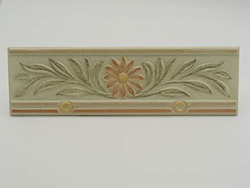 Ceramica Monica Art. 31027 - Piastrella Decoro Greca Listello In Ceramica Per Rivestimento Bagno - Cm 10 x 33 Spessore mm 8 - Confezione 12 Pz