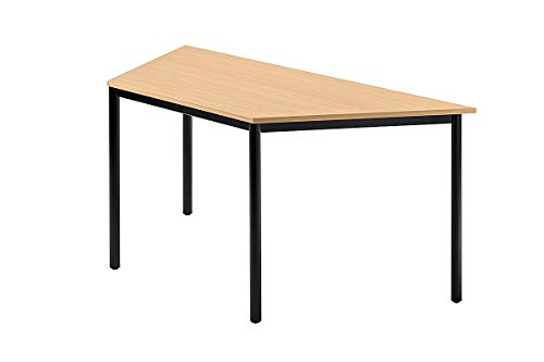 Unbekannt Konferenztisch mit Rund-Rohr schwarz Doran 160 x 69cm Buche