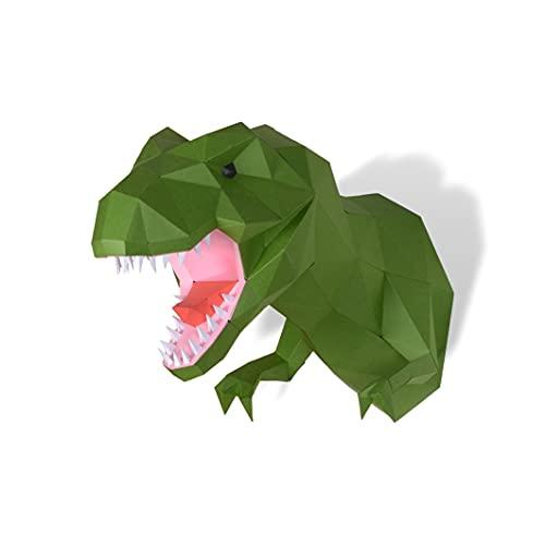 Escultura de papel Trofeo T-Rex,Kit de papelería precortado,Figura de dinosaurio hecha a mano,Color verde,Decoración de pared en bajo polímero,Todos los accesorios incluidos