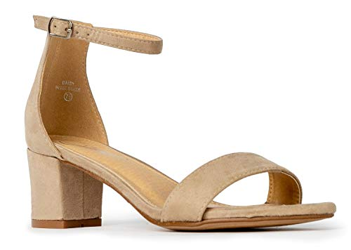 J. Adams Daisy Mid Heel Sandal Nude 9 B(M) US