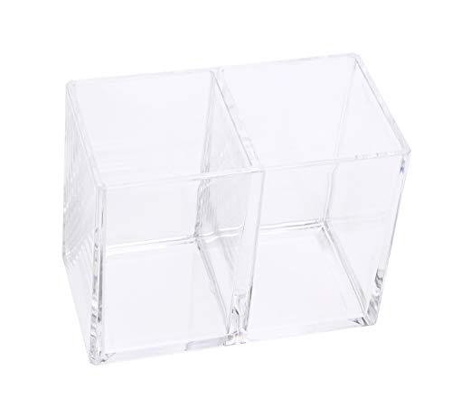 Shapenty Clear Acrylic Scissors Markers Pen Pencil Cup Holder Makeup Brush Cosmetic Storage Container Desk Accessories Desktop Stationery Organizer for Home Office School Supplies (2 Compartments)