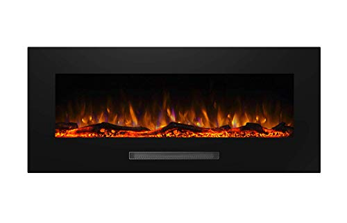 "Masarflame Jenrick 50"" Wall Mounted Electric Fireplace, Hanging Fireplace Heater, 13 Color Backlight, 5 Flame Settings, Log Set/Crystal, Touch Control Panel, 750/ 1500W Heater"