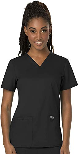 CHEROKEE Women's V-Neck Top, Black, Large