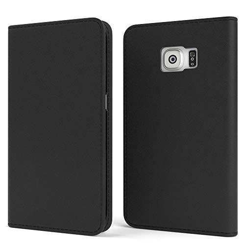 EAZY CASE Tasche für Samsung Galaxy S6 Edge Vintage Schutzhülle mit Standfunktion Klapphülle im Bookstyle, Handytasche Handyhülle Flip Cover mit Magnetverschluss und Kartenfach, Kunstleder, Schwarz