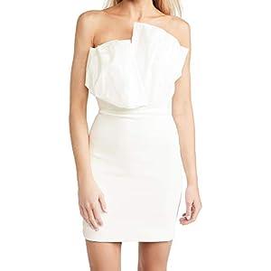 CUSHNIE Women's Strapless Mini Dress with Folded Taffeta