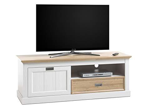 lifestyle4living TV-Lowboard in weiß, TV-Unterschrank mit Absetzungen in Wildeiche-Dekor, modernes TV-Board mit 1 Schublade, 1 offenen Fach und 1 Klappe, 153 cm