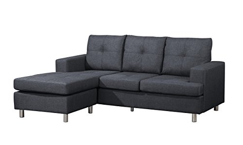 Container Furniture Direct Fancy Linen Upholstered Contemporary Reversible Sectional Sofa, 76.5', Blue