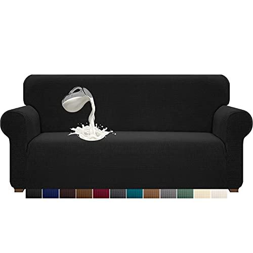 Luxurlife - Funda para sofá de 3 plazas, impermeable, de alta elasticidad, forro antideslizante para muebles con base elástica para mascotas, lavable (3 plazas, negro)