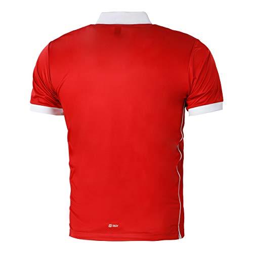 Sergio Tacchini Club Tech Polo para Hombre, Rojo/Blanco, Extra-Large