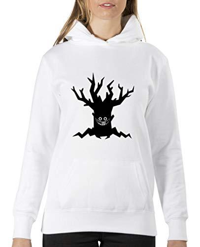 Comedy Shirts Boeser Arbre – Halloween – Sweat à capuche pour femme – Capuche – Poche kangourou à manches longues Motif imprimé - Blanc - XL