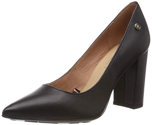 Tommy Hilfiger Damen Dressy Leather HIGH Heeled Pump Pumps, Schwarz (Black 990), 41 EU