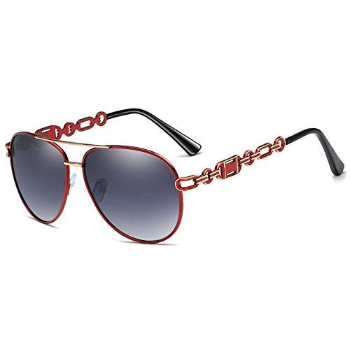 Gafas de sol retro personalidad metal moda mujer gafas de sol polarizadas sapo espejo-marco rojo doble pieza gris