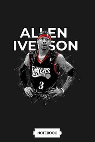 Allen Iverson Notebook: Journal, Lined College Ruled Paper, 6x9 120 Pages, Matte Finish Cover, Planner, Diary
