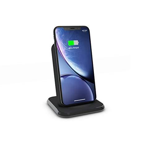 ZENS Qi Certificado Stand Aluminium Wireless Charger (Carga rápida de hasta 10 vatios, Puerto USB-A Adicional, Adaptador de Corriente USB-C de 18W Incluido, Compatible con Todos los teléfonos con Qi)