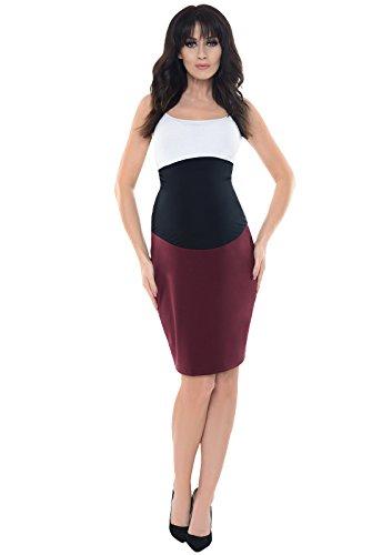 Purpless Maternity Formal Pencil Midi Skirt Over Under Belly Office Work 1504 (14, Burgundy)