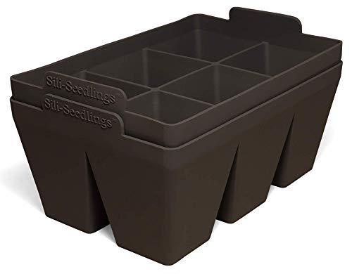 Sili-Seedlings Saatgut-Starter-Tablett, 100 % Silikon, extra stark, Keimschale, wiederverwendbar (2er-Pack, 12 Zellen insgesamt) – Vulkanschwarz