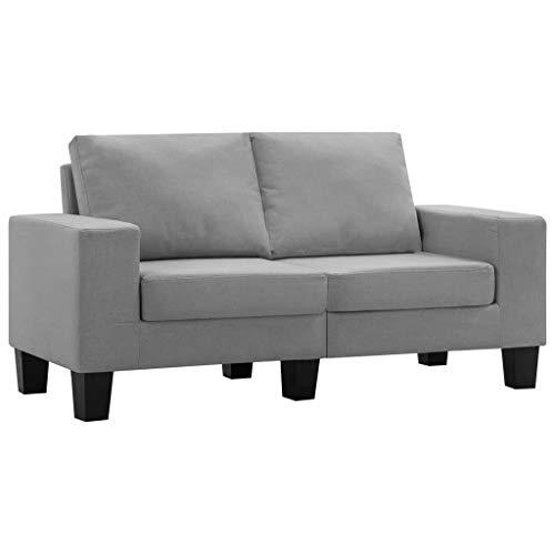vidaXL 2-Sitzer-Sofa Hellgrau Stoff
