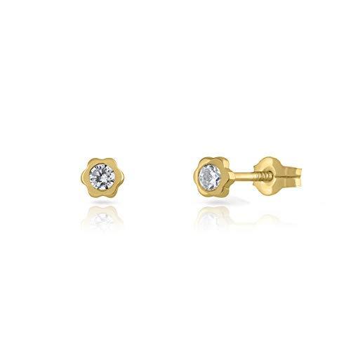 Pendientes de Bebe/Niña oro de 18k, diseño margarita con piedra de 3-4-5,con cierre de presión o rosca, elija el suyo. (3 MM - PRESION)