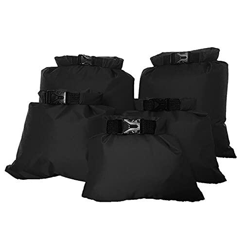CUIFULI Paquete de 5 sacos secos impermeables ligeros al aire libre bolsas secas enrollables al aire libre bolsas secas para kayak, camping, senderismo, viajes, navegación, deportes acuáticos (negro)