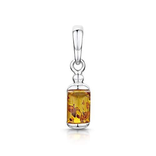 Amberta - Ciondolo rettangolare moderno in argento sterling 925 con ambra baltica e Argento, colore: Arancione, cod. S925-BC-0389-PEN-3H