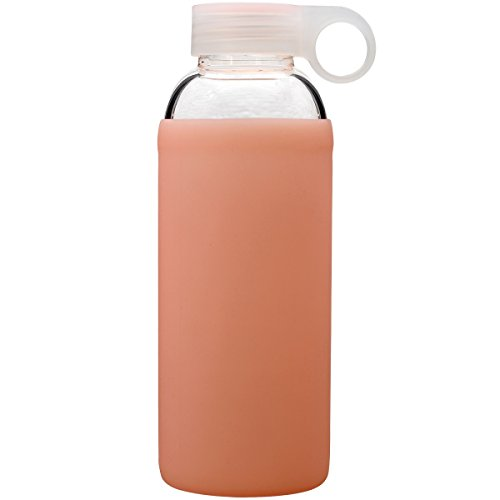 Bonison Durable Glass Water Bottle with Soft Colorful Silicone Sleeve, 14oz, Peach