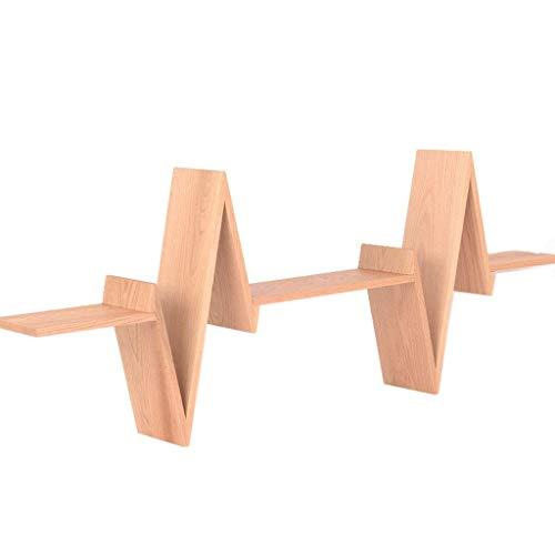 WECDS-E Estantería de Roble con Forma de Onda eléctrica estantería Vertical para Colgar en la Pared estantería de Doble Uso Organizador de Almacenamiento Pantalla de pie
