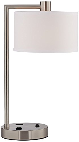 Colby Modern Desk Table Lamp with Hotel Style USB and AC Power Outlet in Base Brushed Nickel White Linen Drum Shade for Living Room Bedroom House Bedside Reading Home Office - 360 Lighting