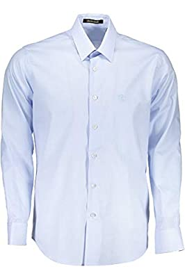 ROBERTO CAVALLI Camicia Blue Ladder Stripe Slim Fit Logo Dress Shirt 16 (41)